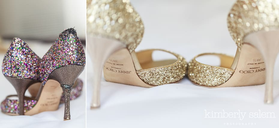 two pairs of Jimmy Choos for a bride - one chewed up by dog