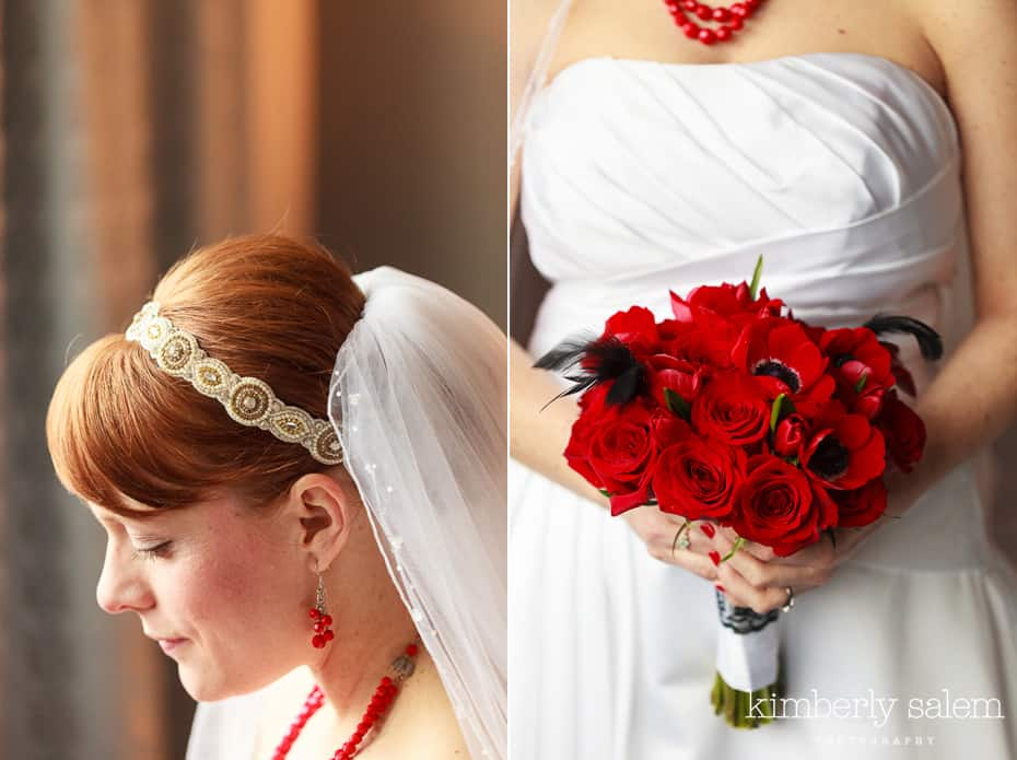 bridal headpiece and bouquet detail - red roses and red anemones