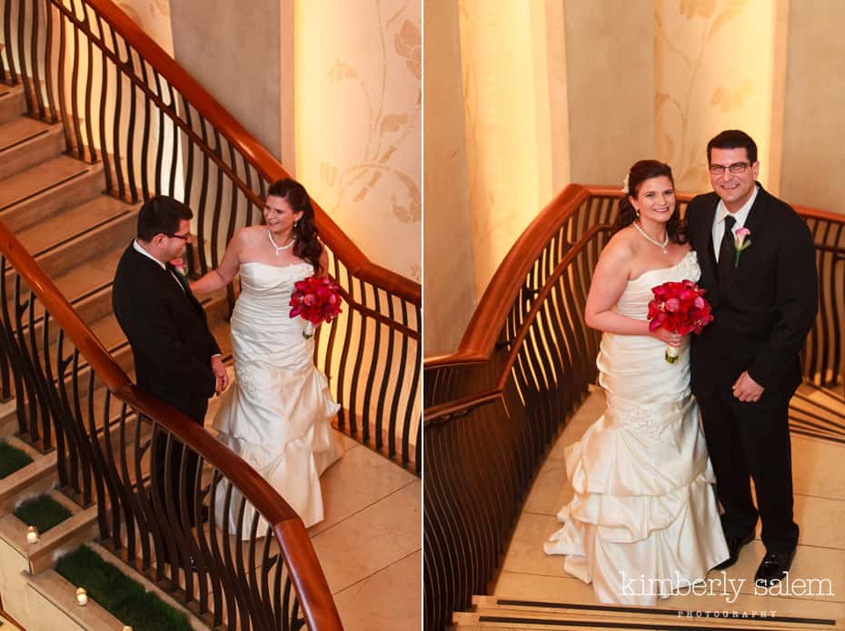 bride and groom first look - stairs of W hotel union square