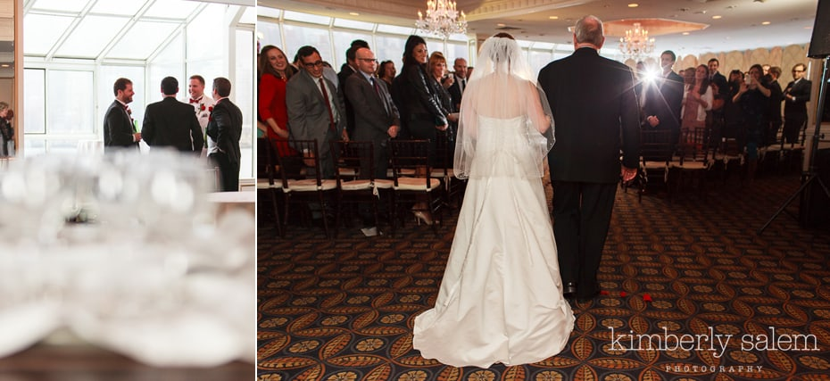 bride walking up aisle with her dad