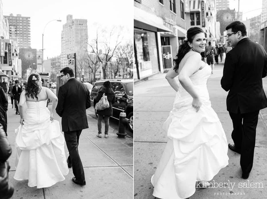 bride and groom walking in Union Square