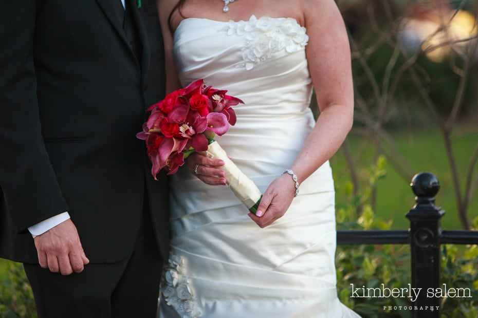 bouquet and dress detail - bride and groom