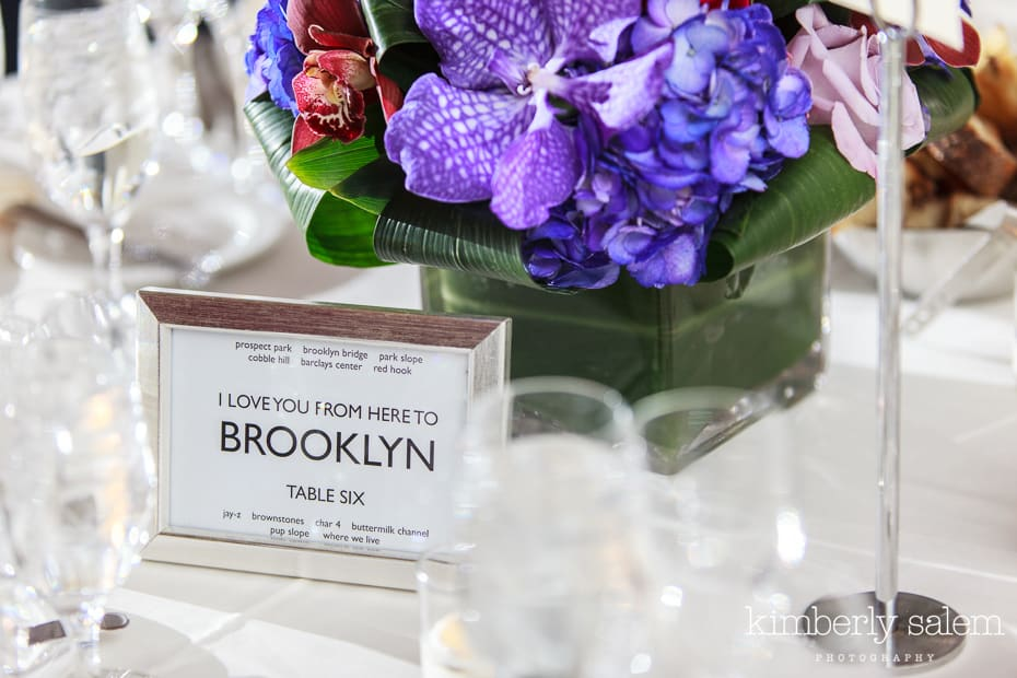 NYC table names for wedding - Brooklyn