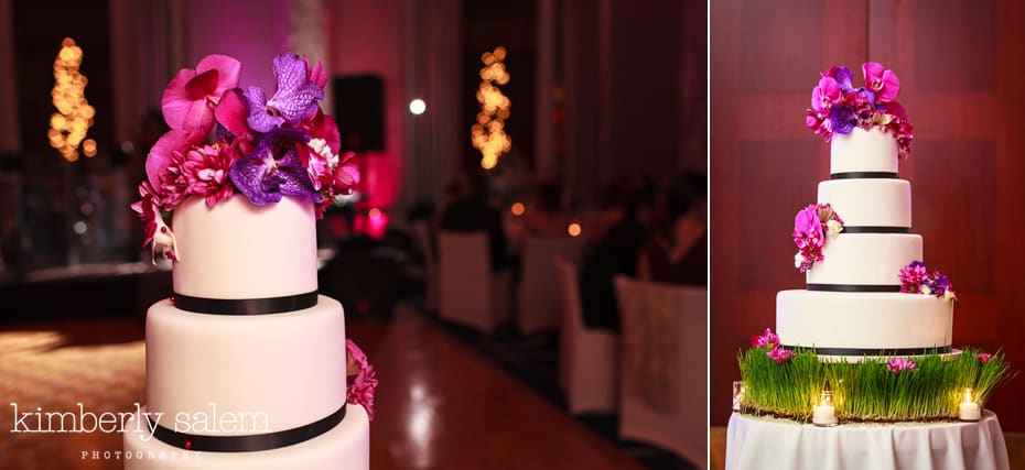 wedding cake details - white with purple and pink flowers