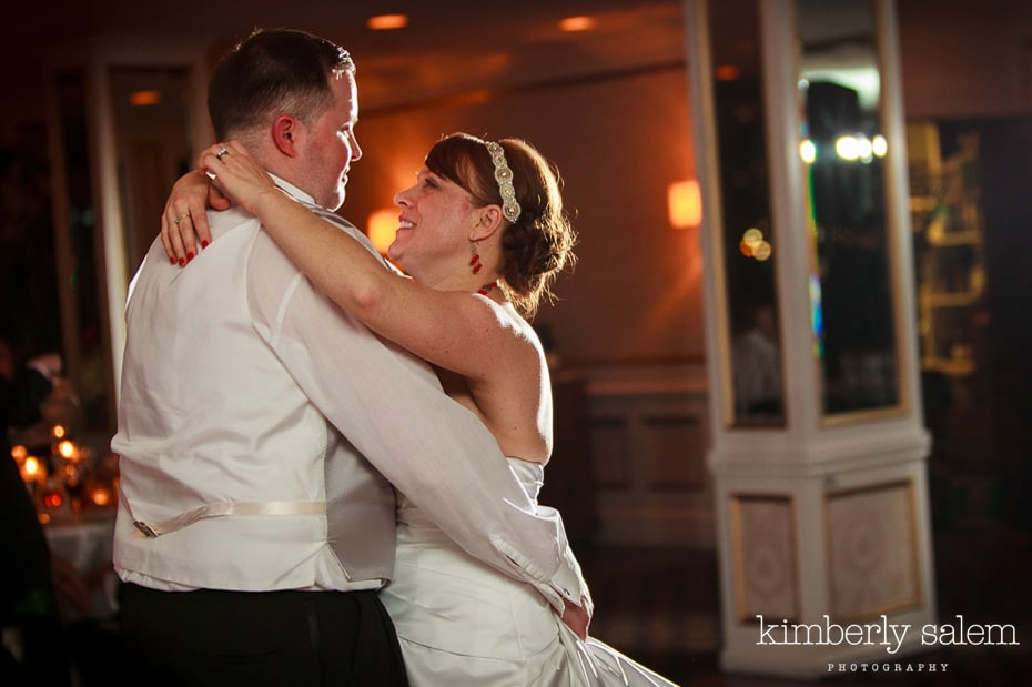bride and groom slow dance at reception