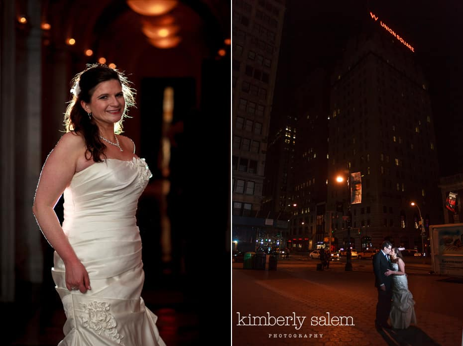 nighttime bride and groom portrait at W Hotel in Union Square
