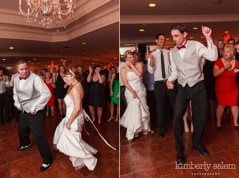 bride and groom cutting a rug at reception