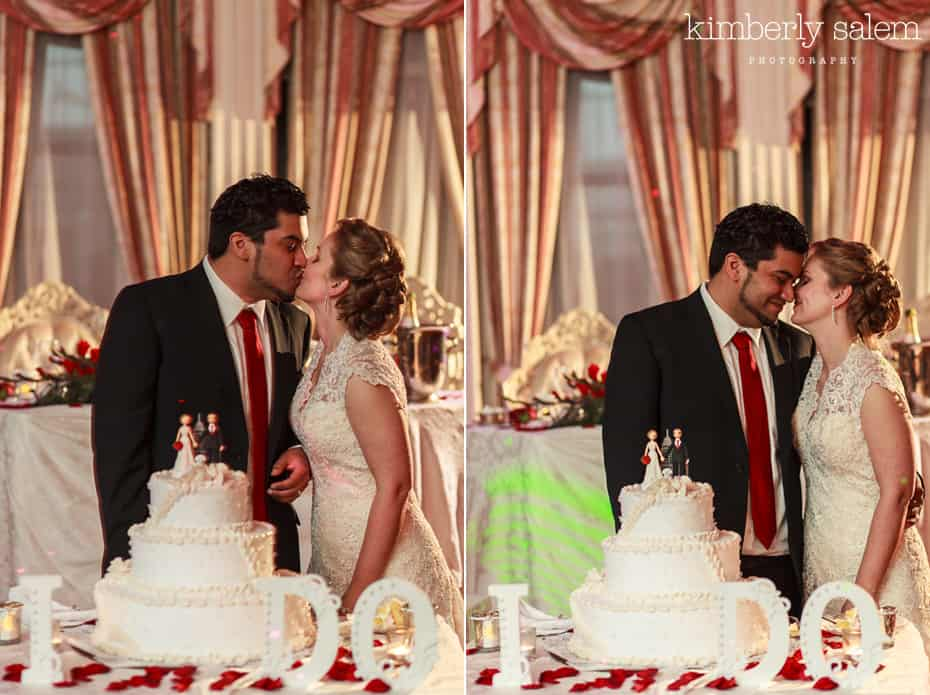 bride and groom - cake cutting