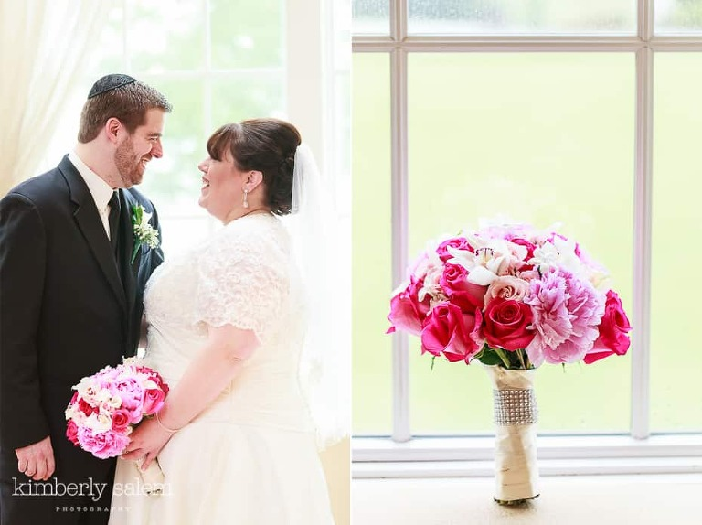 bride and groom, and wedding bouquet