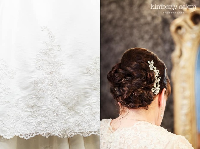 wedding dress lace detail and wedding hair - updo with headpiece