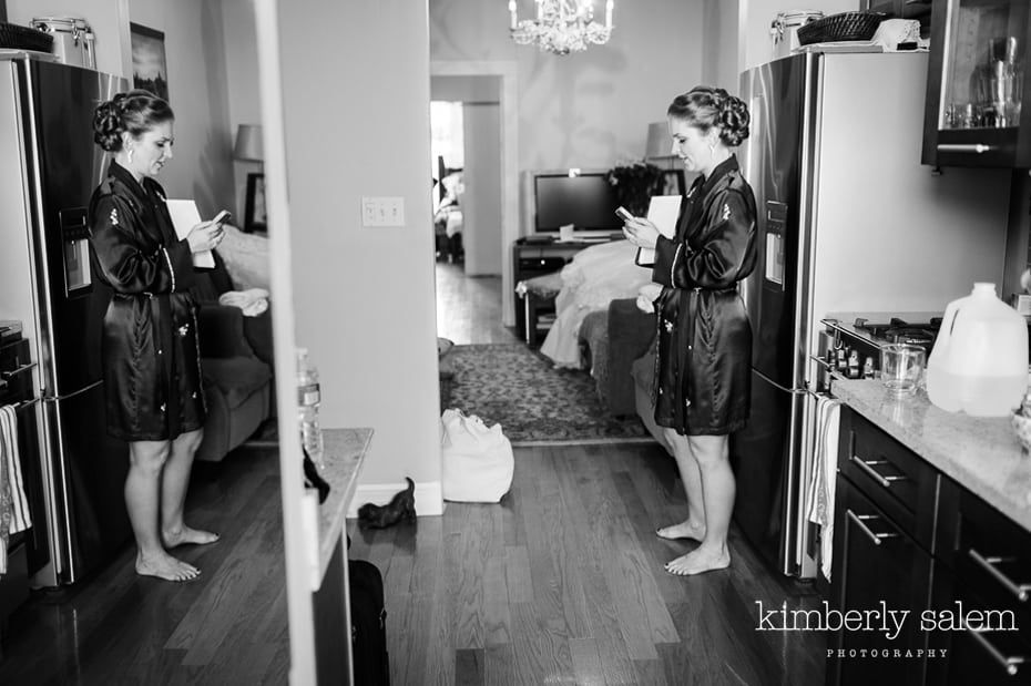 bride and reflection - getting ready