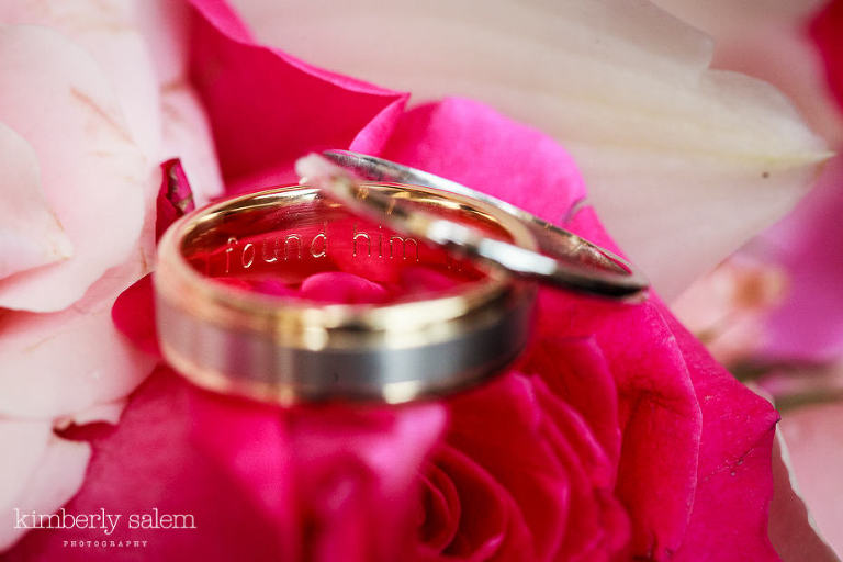 wedding rings on flowers with inscription - I found him