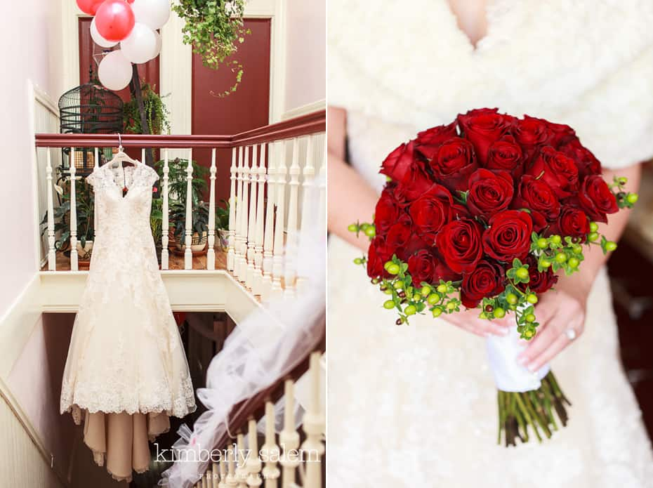 wedding dress and red rose bouquet