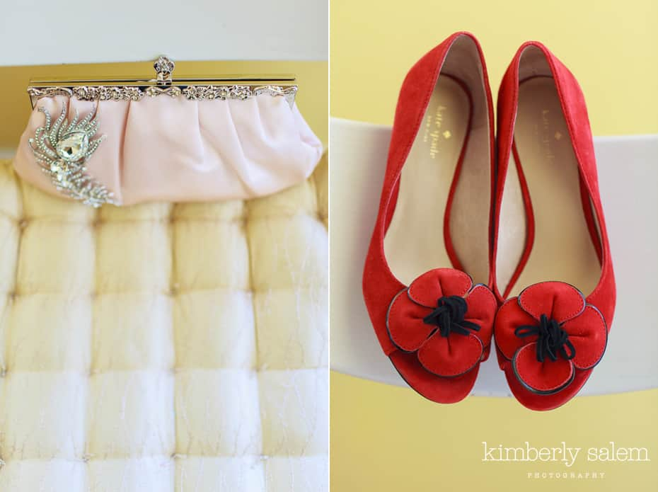 bridal clutch and red kate spade shoes