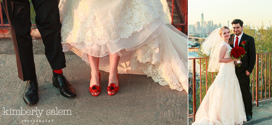 bride and groom shoes and portrait on rooftop in Brooklyn