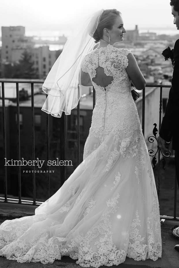bride on rooftop - lace gown