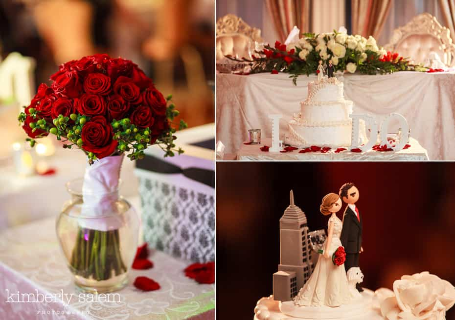 Grand Prospect Hall wedding cake, bouquet and wedding cake topper
