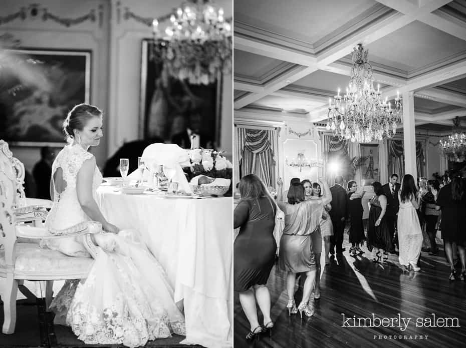 bride at sweetheart table at Grand Prospect Hall - wedding guests dance