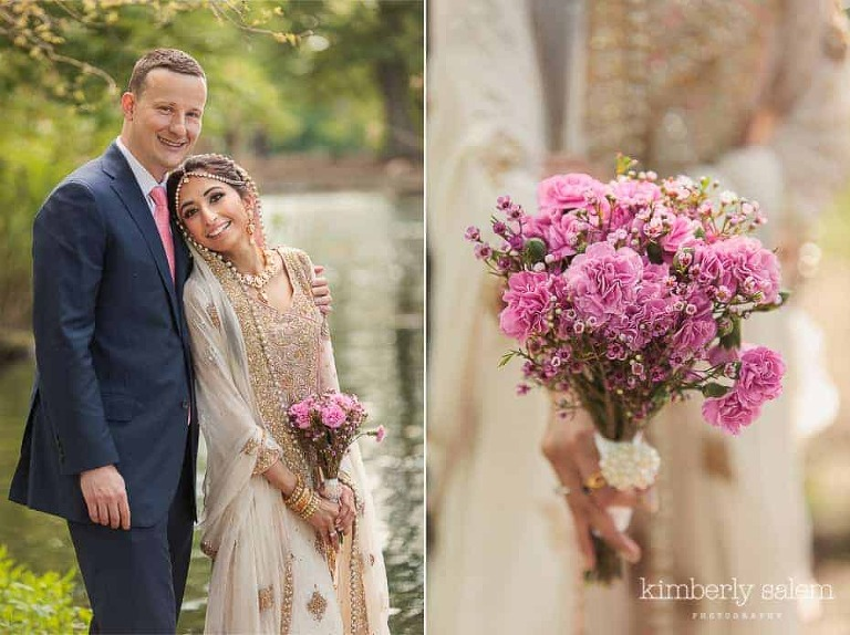 bride and groom portrait diptych with pink carnation bouquet