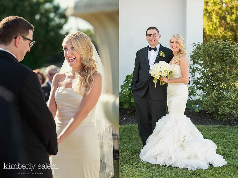 Bride and groom portrait and during ceremony diptych