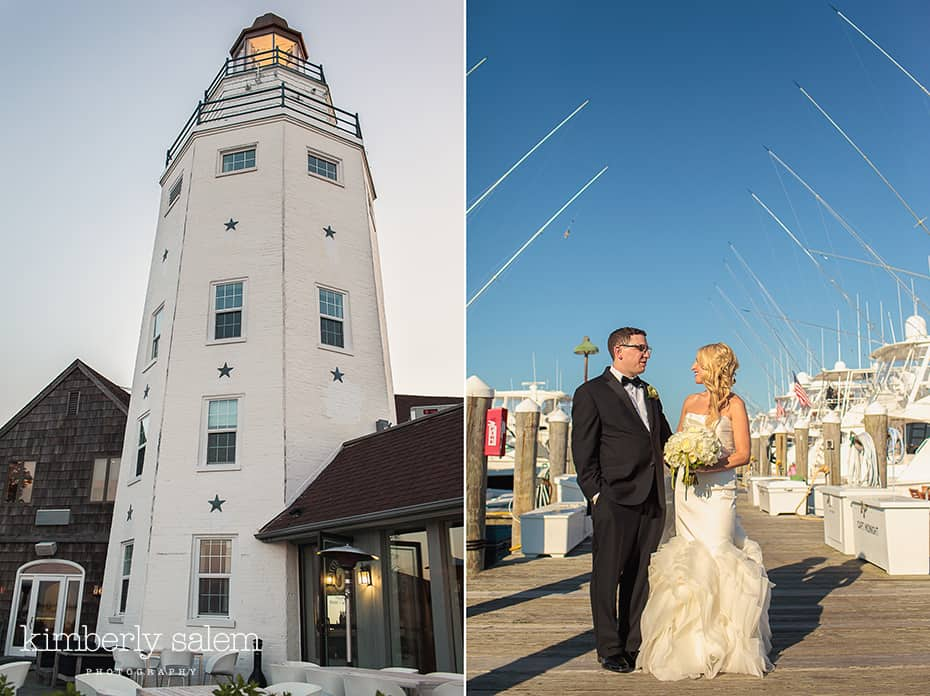 Montauk Yacht Club Lighthouse Diptych With Bride And Groom By Boats