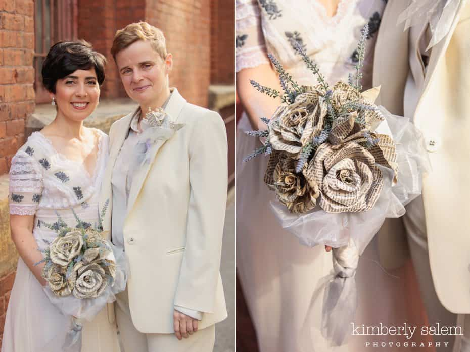 Portrait of brides and detail of handmade bouquet made of books