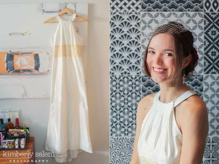detail of bridal gown and smiling bridal portrait