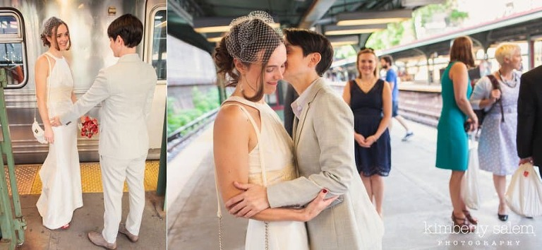 first look of the two brides on the Prospect Park subway platform