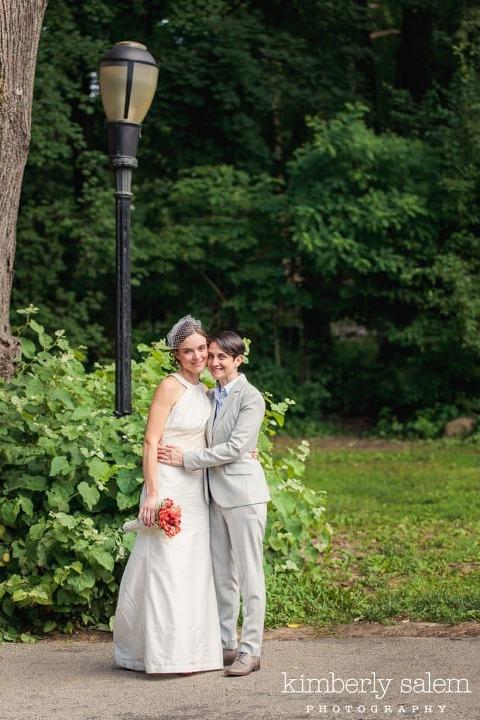portrait of two brides in prospect park