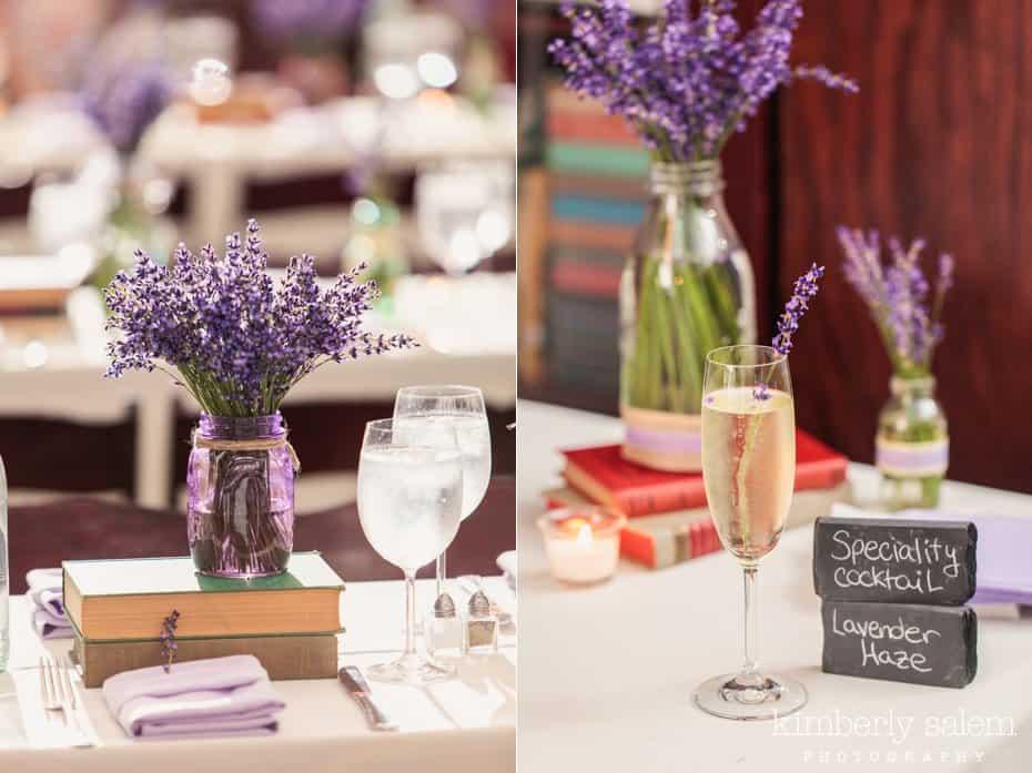Fresh lavender and mason jar details with Lavender Haze cocktail