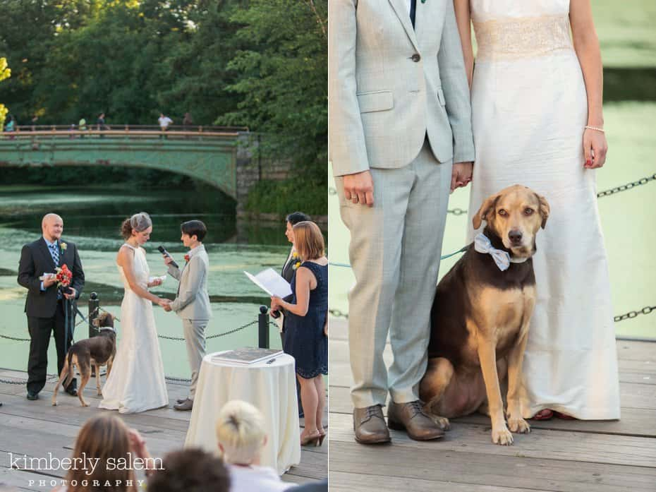 two brides - wedding ceremony at prospect park boathouse and detail with their dog