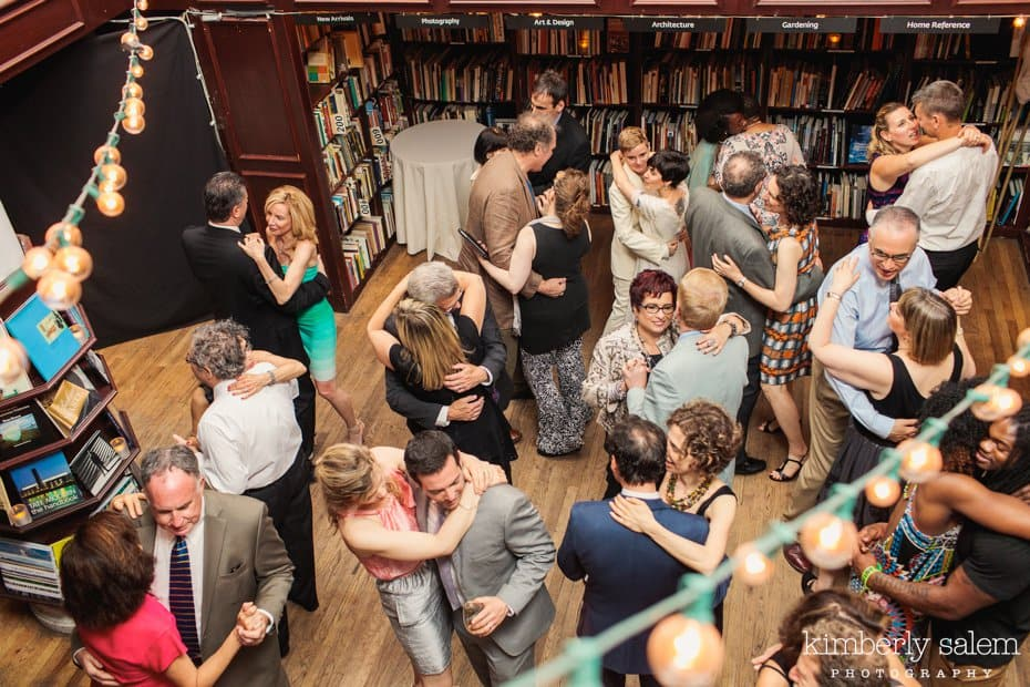 Wedding guests dance at the Housing Works Bookstore