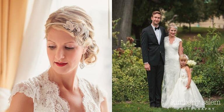 Brooklyn Botanical Garden wedding - bride portrait with headpiece and family portrait