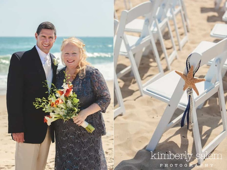 bride in grey lace dress and groom with detail of beach ceremony chair and starfish