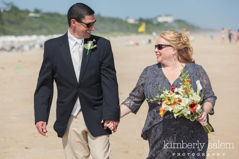 bride and groom on the beach in Montauk