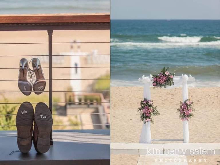 ceremony trellis detail and wedding shoes by the beach