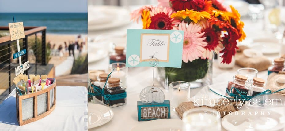 beach themed wedding details - flowers and table numbers