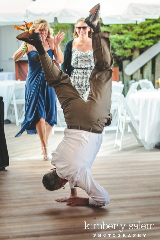 the officiant enters the reception upside down