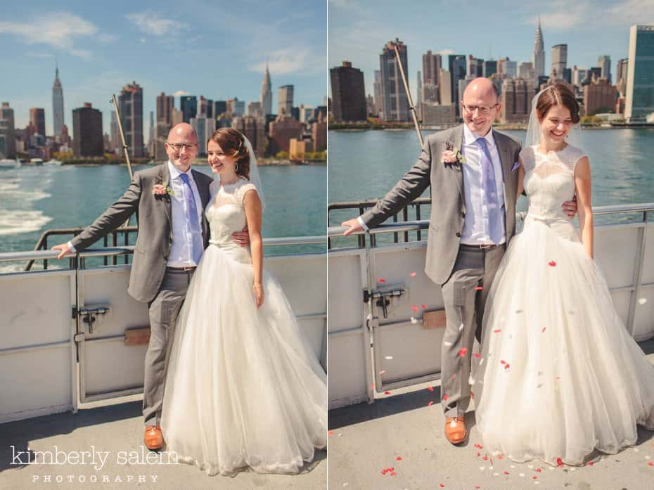 Bride and Groom portraits on the East River Ferry
