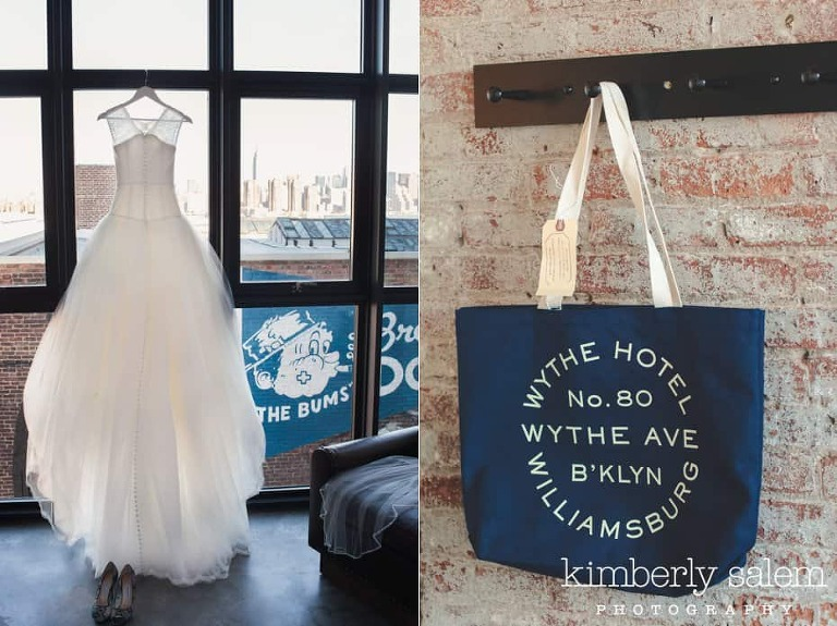 Wedding gown detail with shoes and Wythe Hotel tote bag