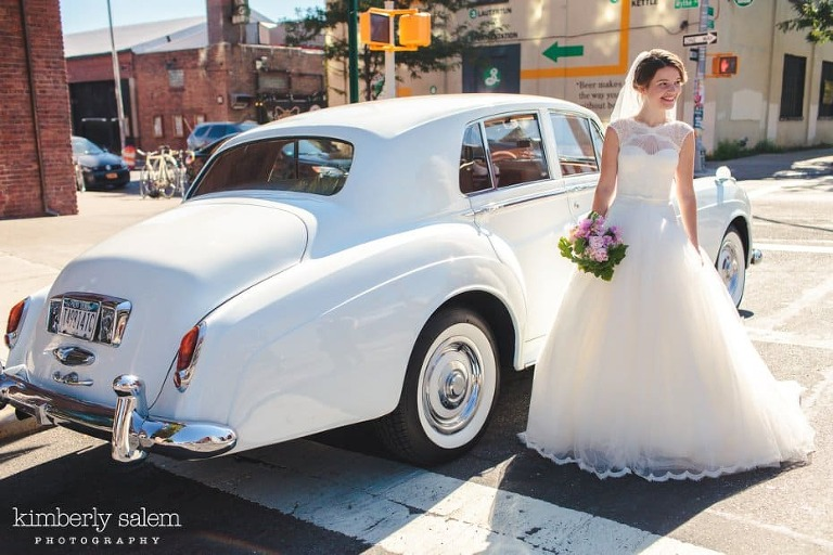 Bride with white Rolls Royce by the Brooklyn Brewery