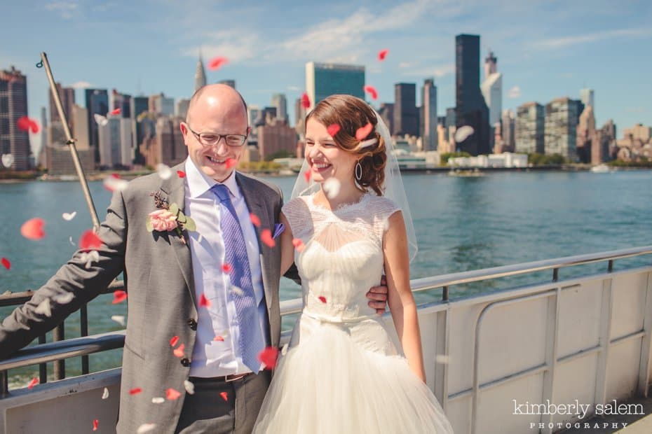 Bride and Groom with confetti on the East River Ferry
