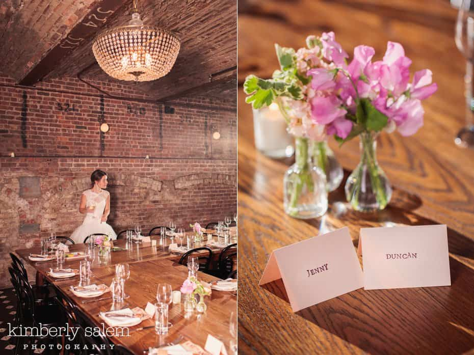 Bride looks over the reception decor at Reynard in the Wythe Hotel