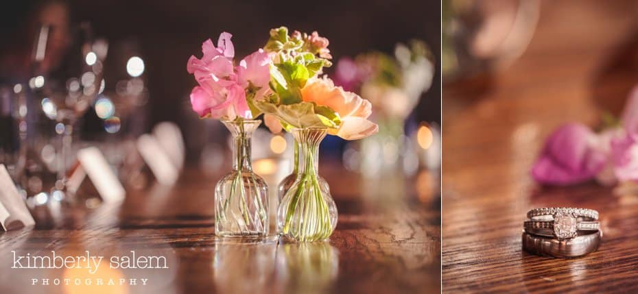 table decor and wedding ring detail at the Wythe Hotel