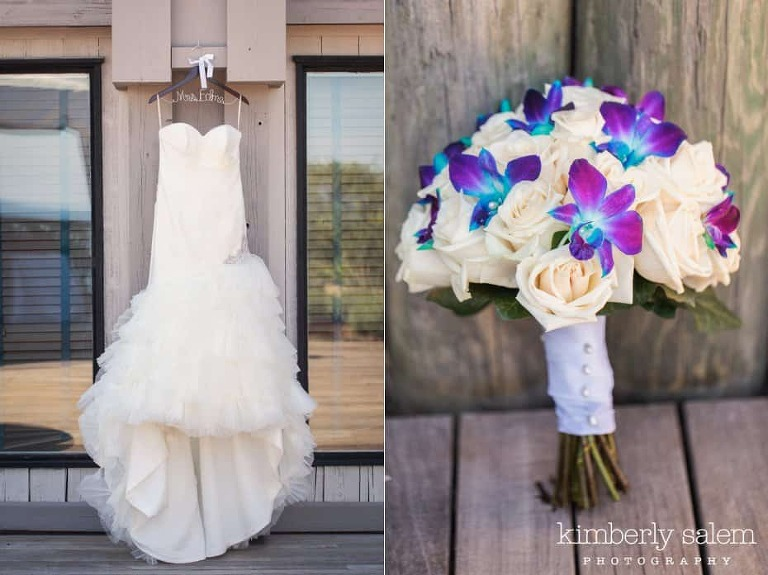 bridal gown and bridal bouquet detail - white roses and purple and blue orchids