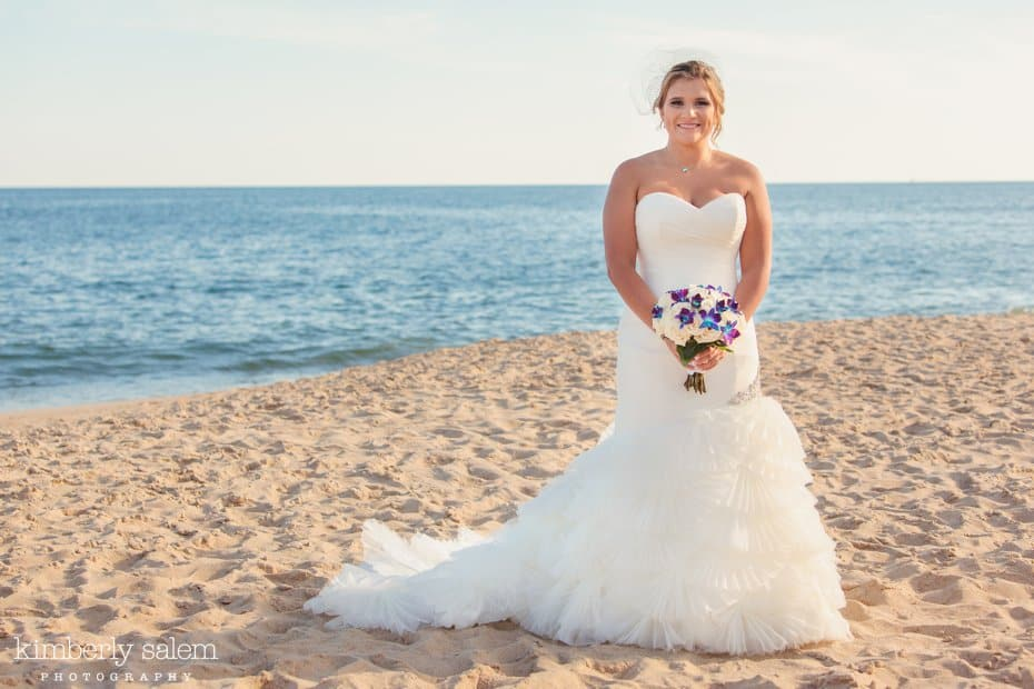 bridal portrait on the beach at Gurney