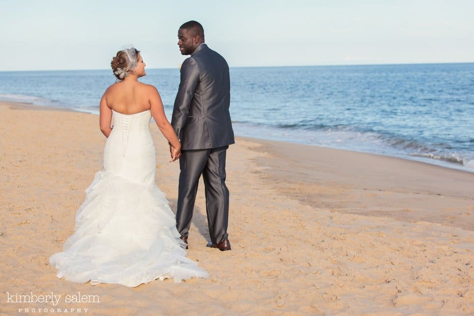 bride and groom on the beach at Gurney