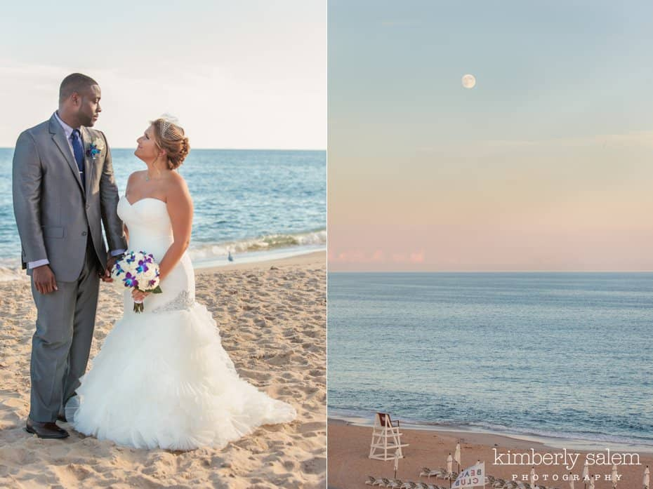 bride and groom portrait on the beach and sunset with moon in the sky at Gurney