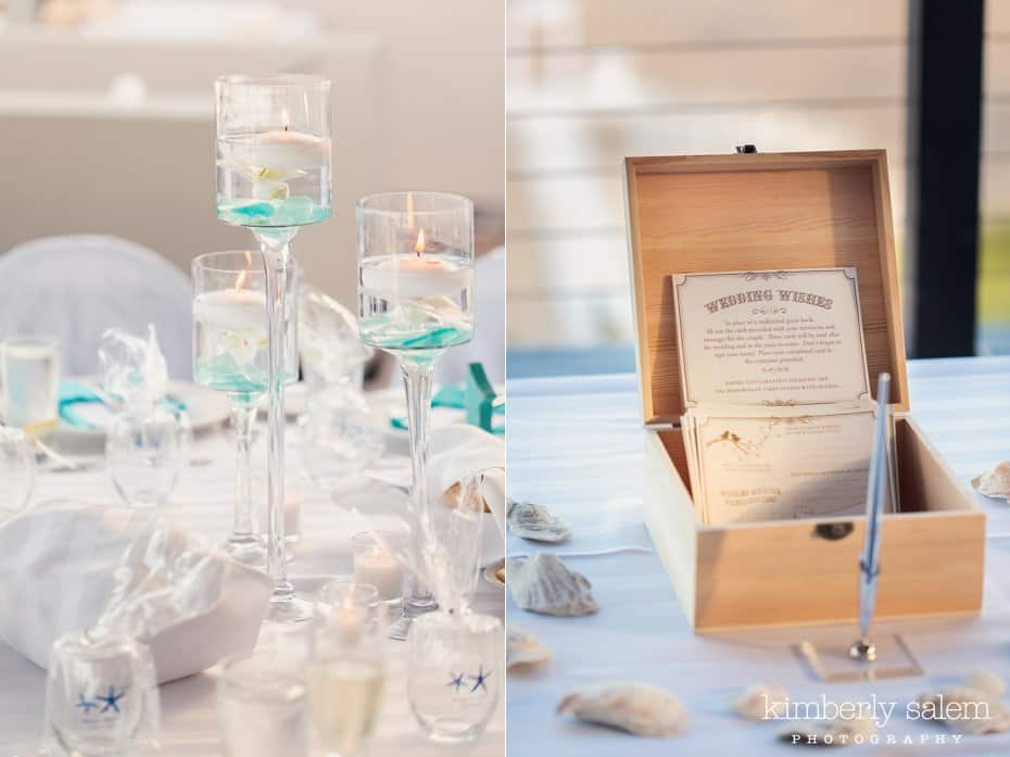 reception table details - white and blue - wedding wishes card box