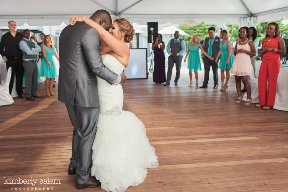 bride and groom first dance under the tent at Gurney